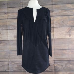 Zara Woman | Black Fringe Suede-Like Dress Small